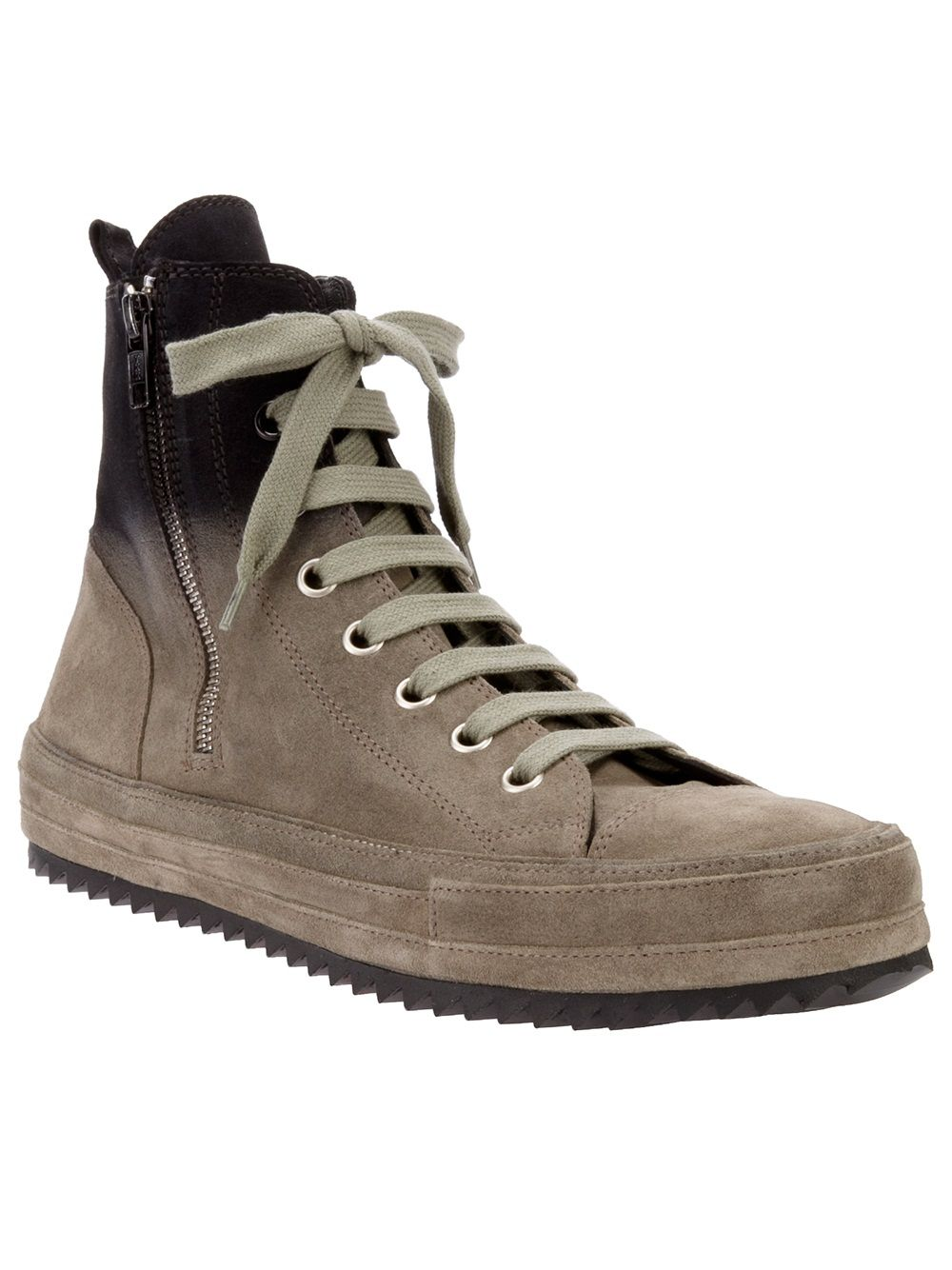 Khaki Back Zip High-Top Sneakers D by D itweiUTt