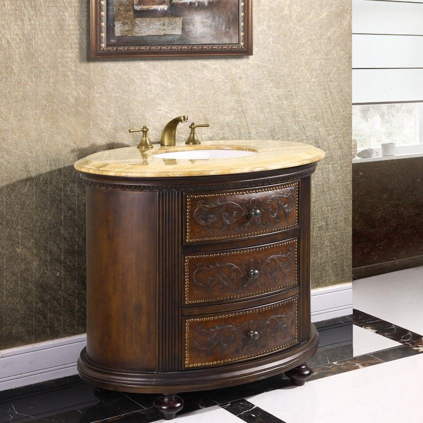 Photography Gallery Sites The Antique inch Vintage Bathroom Vanity Chest in Brown Finish offers a classic warmth for