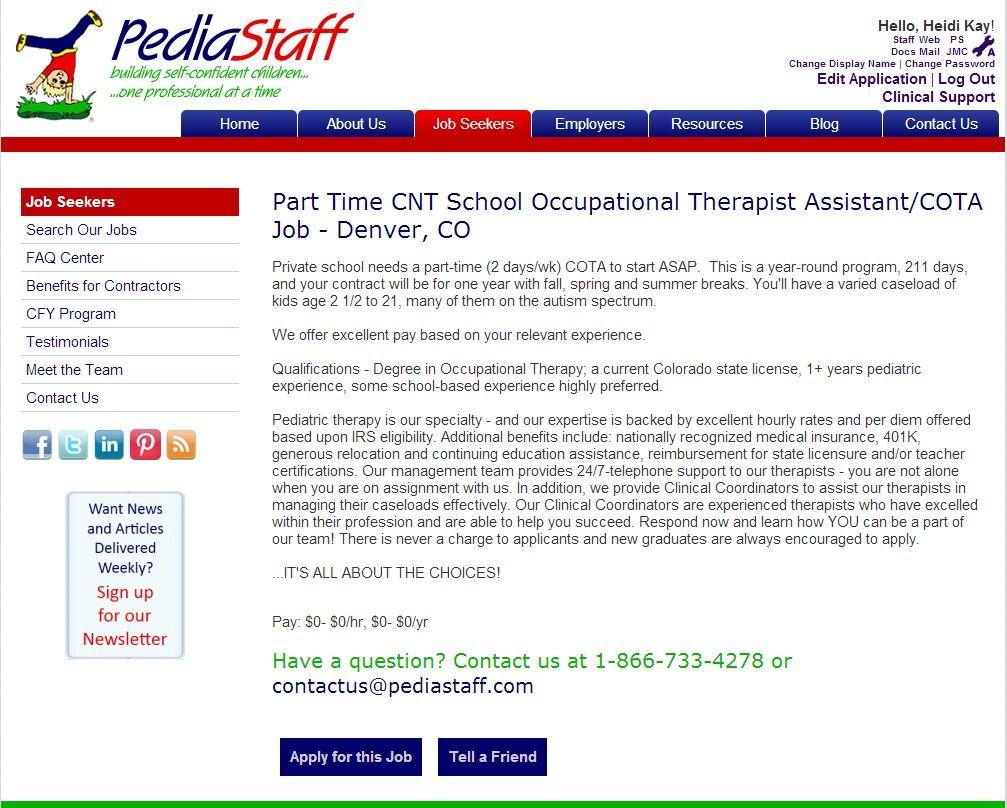 Part Time Cnt School Occupational Therapist AssistantCota Job