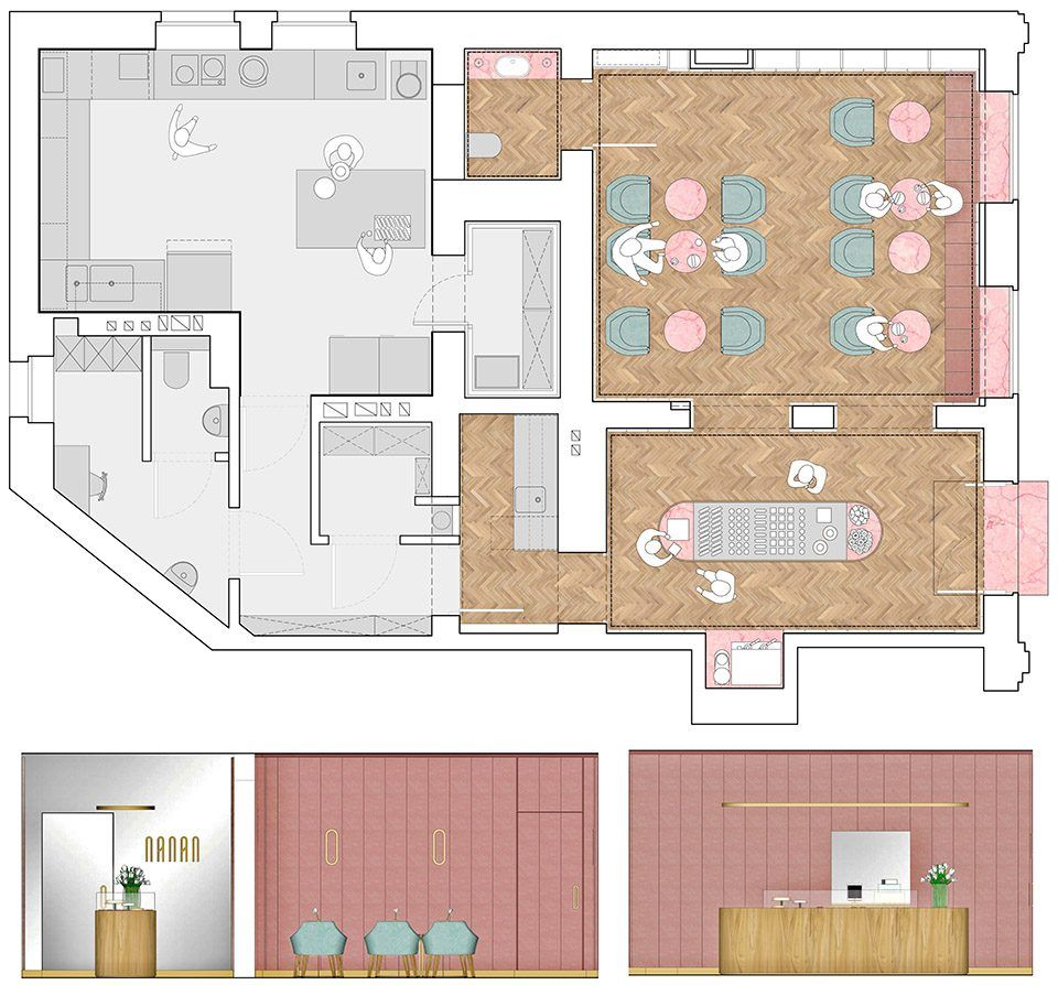 NANANPatisserieByBUCK.STUDIO Kitchen layout plans