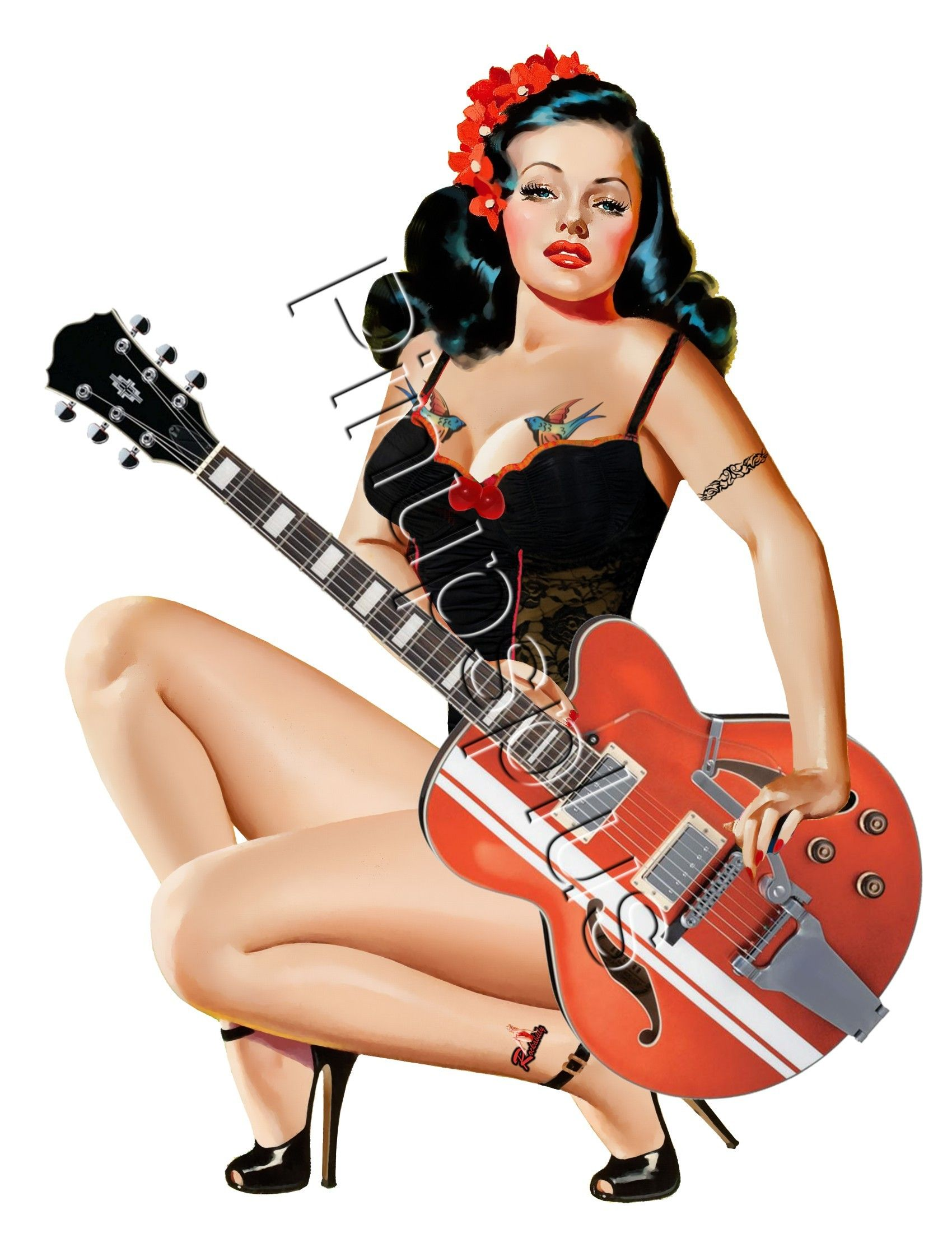 sexy pinup rockabilly guitar tattooed girl waterslide decal s678 s678 pin ups plus. Black Bedroom Furniture Sets. Home Design Ideas