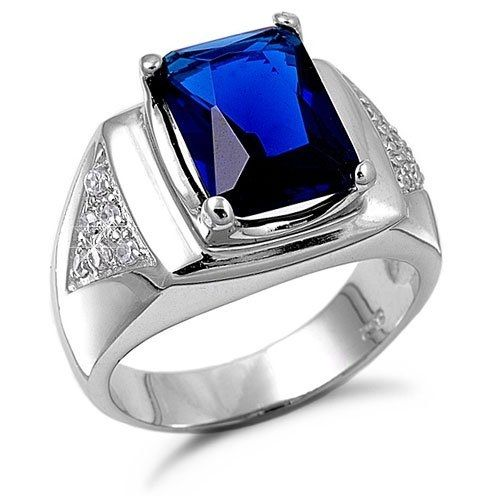 Blue Saphire Rings For Mens Mens Silver Rings Blue Saphire