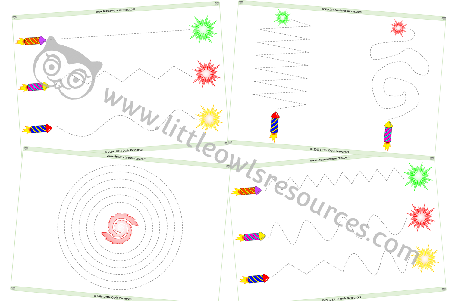 FREE Fireworks Follow Lines - Fine Motor Control printable Early Years/EY (EYFS) resource/download — Little Owls Resources - FREE #fireworkseyfs