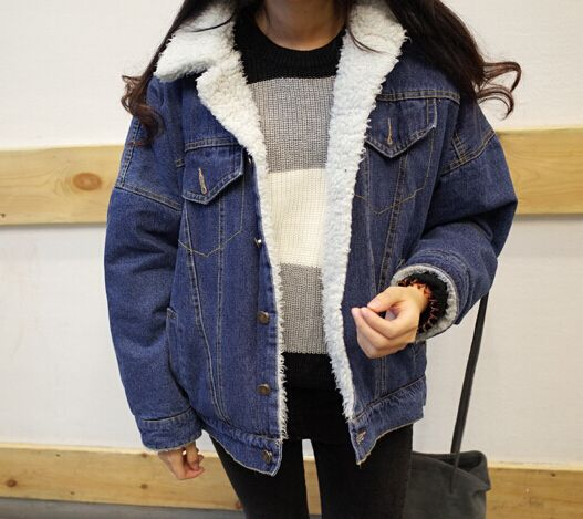 Women Denim Jacket with Lamb Fur Lapel Collar Oversized Boyfriend ...