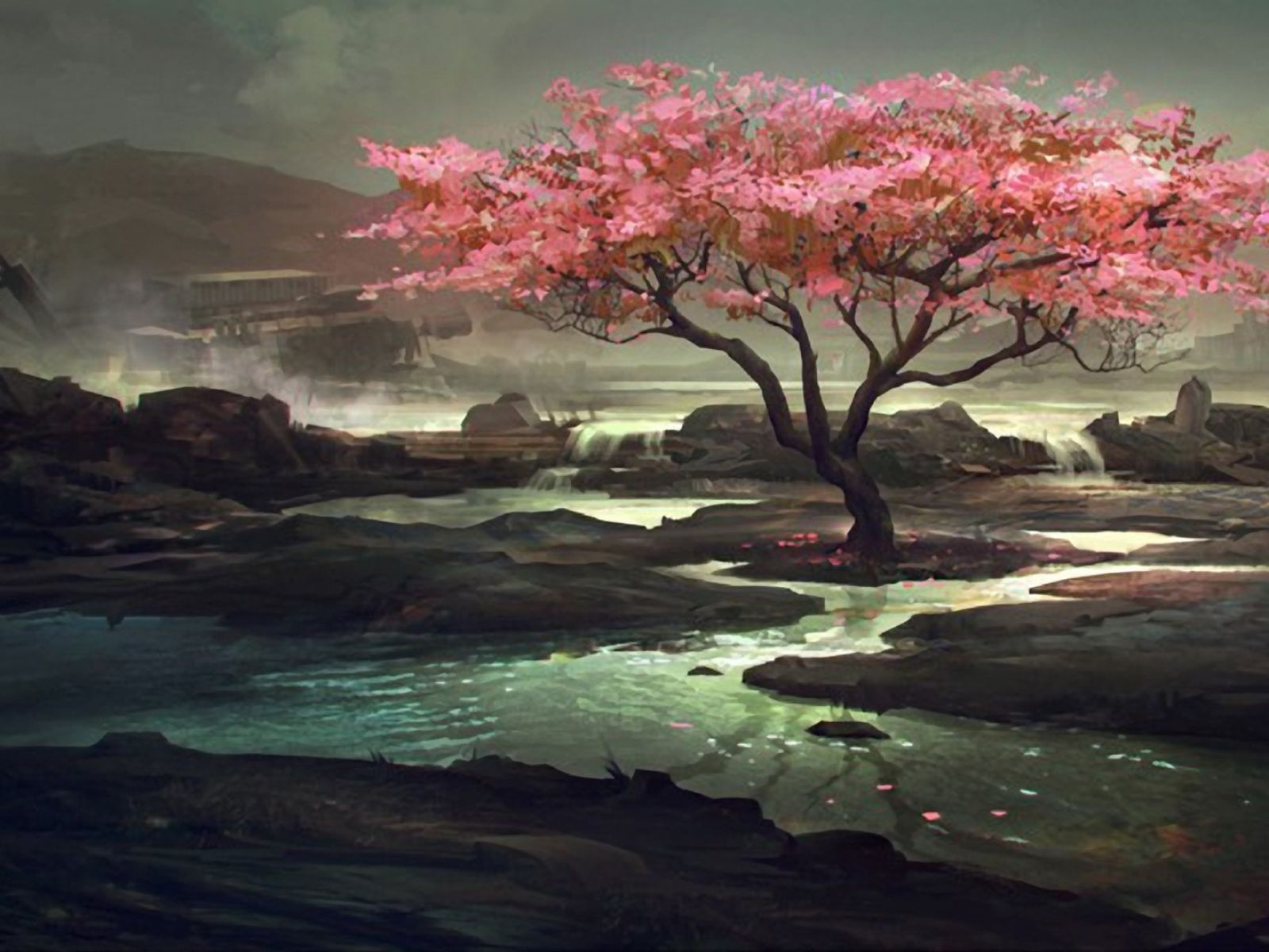 Water Fantasy Mountains Clouds Landscapes Cherry Blossoms Trees Fantasy Art Landscapes Sakura Art Tree Art