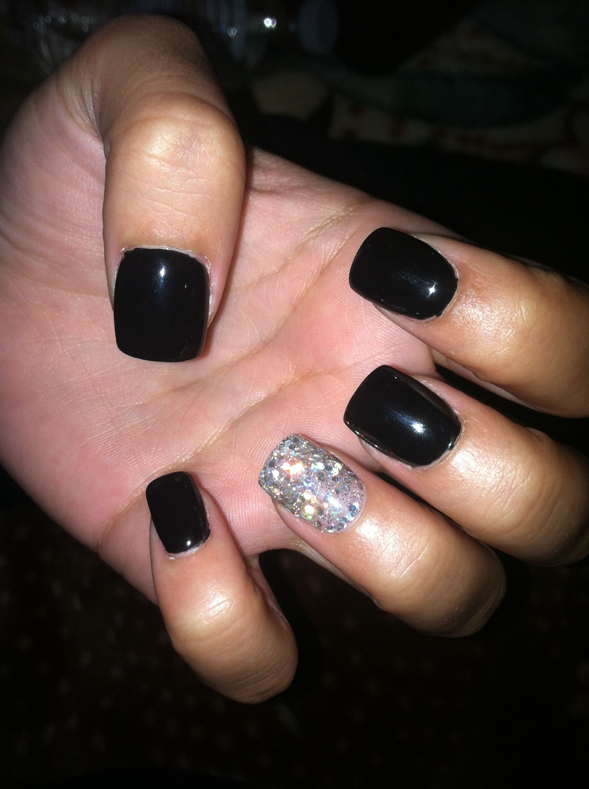Black Gel Nails With One Silver Glitter Nail