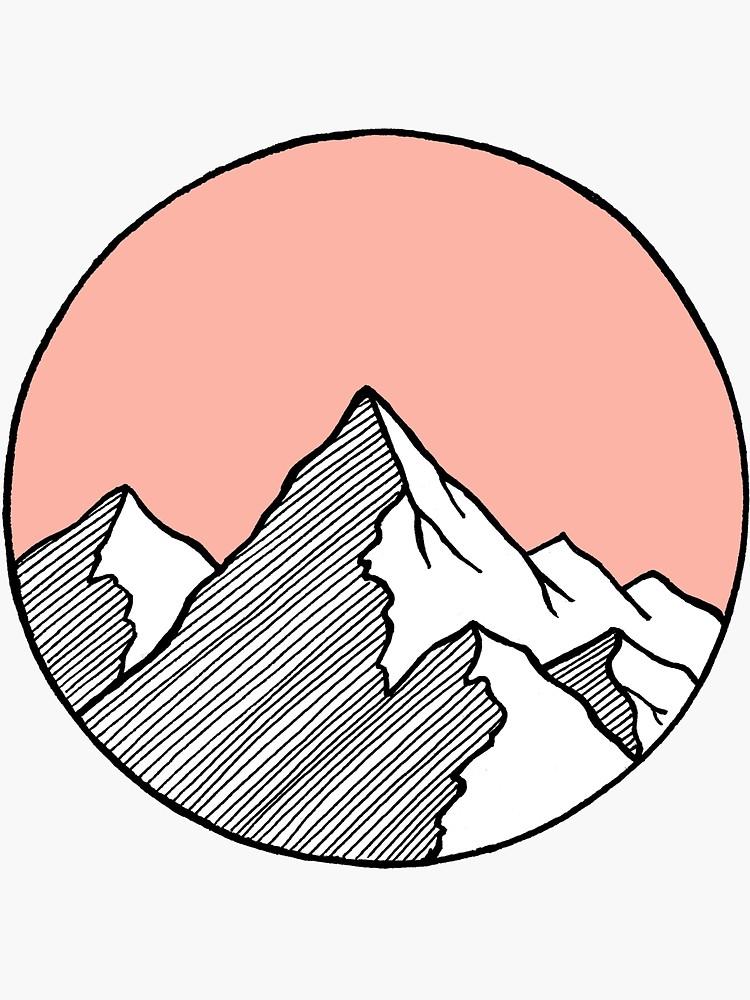 Mountains Sketch Sticker By Smalltownnc Croquis De Montagne Art De Petite Toile Dessin Sur Toile