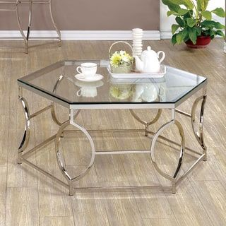 Davlin Contemporary Glam Hexagonal Metal Frosted Glass Coffee Table By  INSPIRE Q Bold By INSPIRE Q