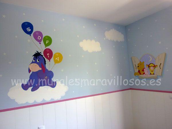 Murales pintados en habitaciones infantiles con personajes - Habitacion winnie the pooh ...