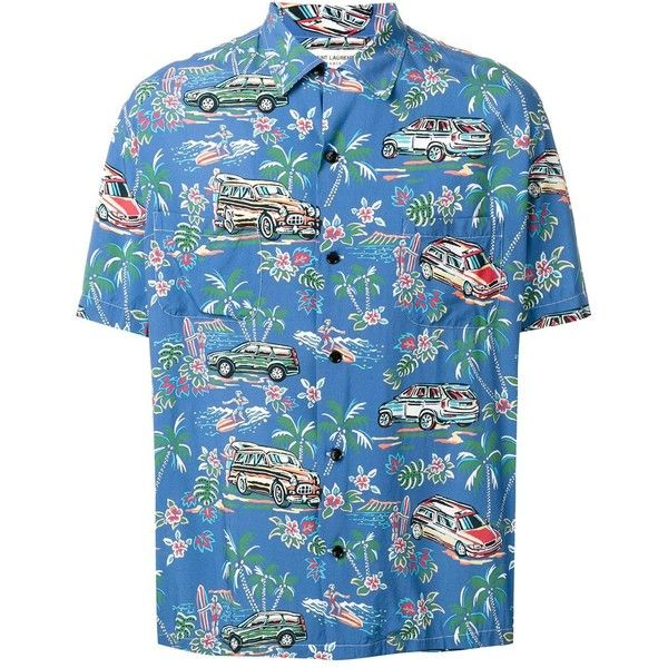 Saint Laurent classic Hawaiian shirt ($850) ❤ liked on Polyvore featuring men's fashion, men's clothing, men's shirts, men's casual shirts, blue, mens hawaiian shirts, mens blue shirt, mens palm tree shirt and mens casual short-sleeve button-down shirts