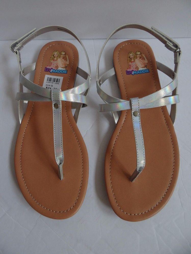 ff628b10dfe Girl's Disney Liv and Maddie Silver Thong Sandal Flat Size 5 & 6 ...