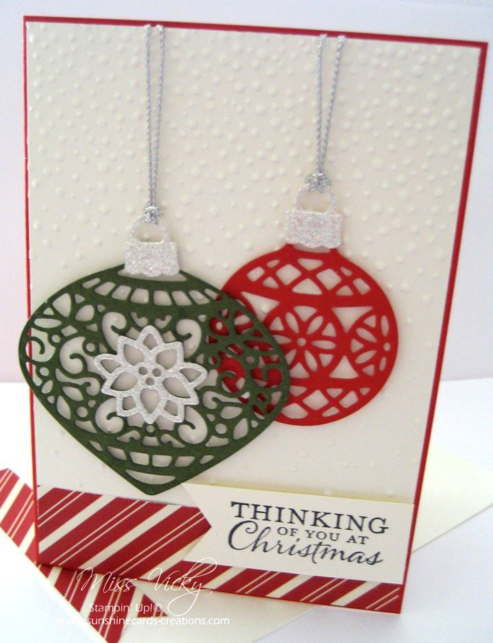 Christmas Card, Stamp Set - Embellished Ornaments, Thinlits - Delicate Ornament, DSP - Home for the Holidays, Stampin' Up!