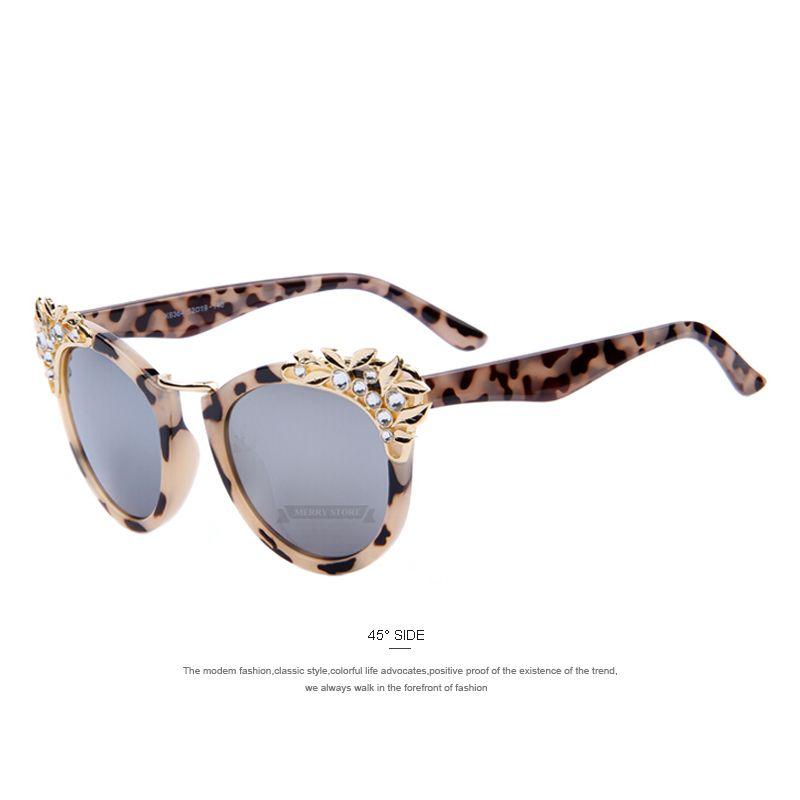 e59ee9947286b MERRY S Mode Fleur Cristal Décoration Femmes lunettes de Soleil Femmes  Marque Design Papillon lunettes de Soleil