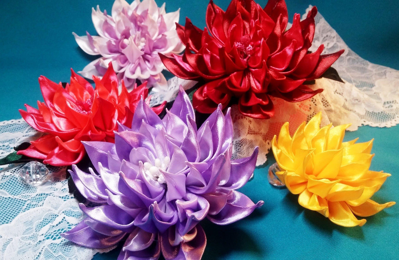 Ribbon flowers:new dahlia/Flores de cintas:dalias nuevas/Цветы из лент:н...