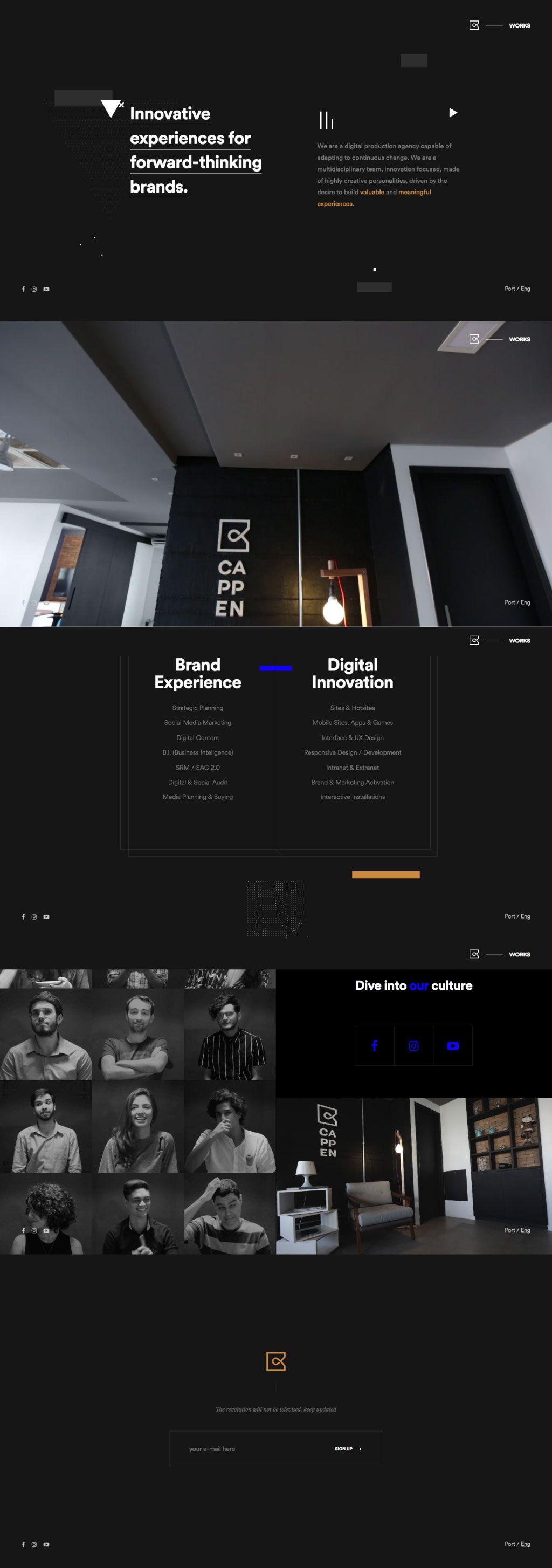 Unique Experiential Web Design Video Full Screen Parallax Graphic Black Dark Work Culture Team Emphasis Web Design Black Web Design Modern Web Design