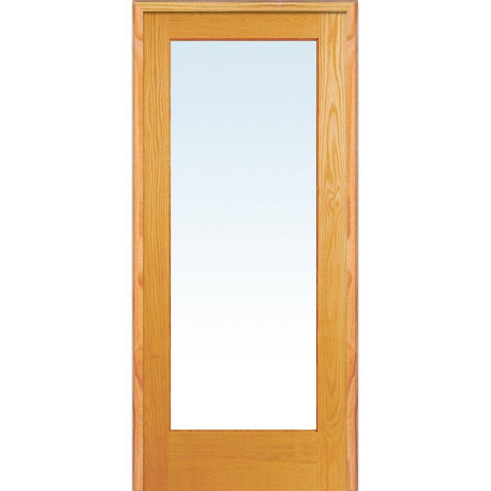 Mmi Door 32 In X 80 In Left Handed Unfinished Pine Wood Clear Glass Full Lite Single Prehung Interior Door Z019932l French Doors Interior Prehung Interior Doors Glass French Doors