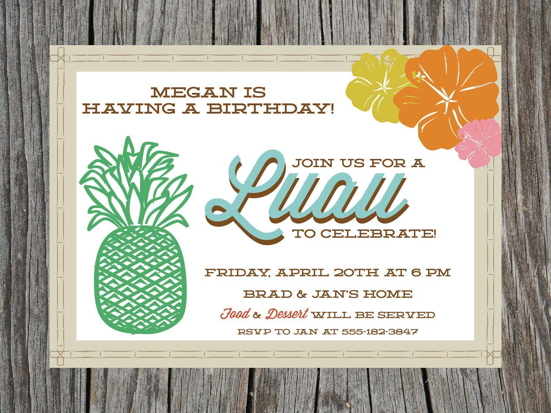 Printable Luau Birthday Party Invitation Retro Tiki Hawaii – Hawaiian Party Invitations Printable