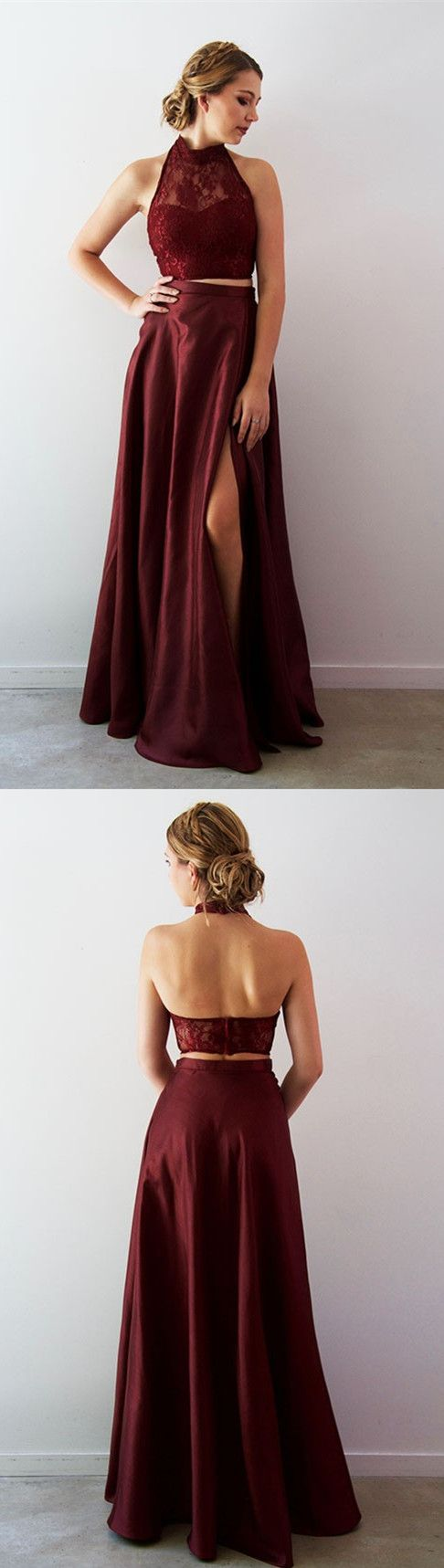 Elegant two piece high neck burgundy long prom dress with side slit
