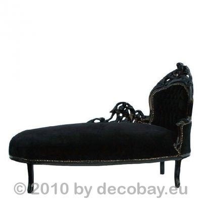 Sofa Ottomane Im Gothic Look. Schwarzes Kanapee Chaiselongue Im Barock Stil.  Massivholz Möbel Einrichtung