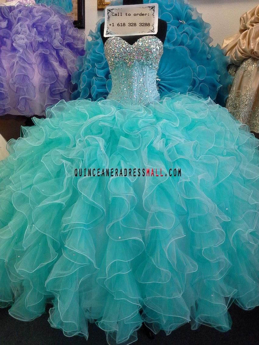 2014 new turquoise sparkling beading crystal organza ruffled puffy ...