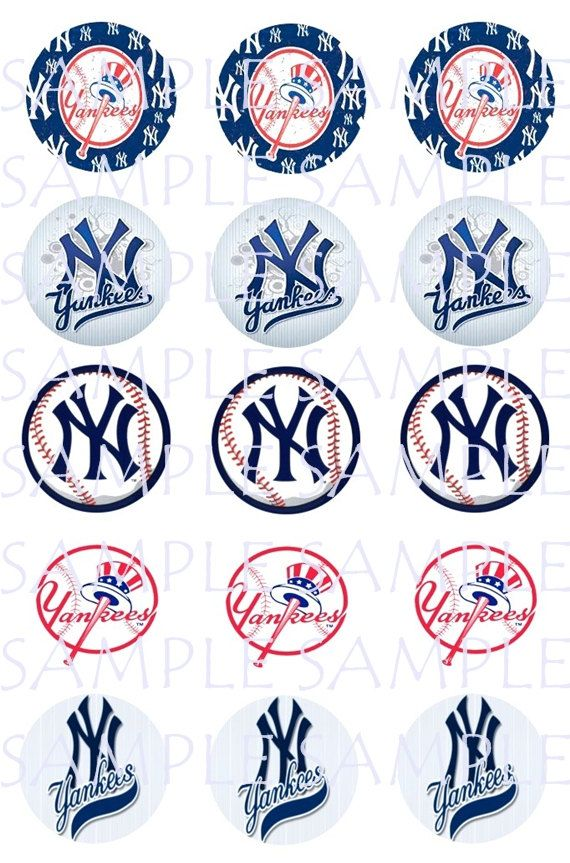 30 1 New York Yankees Images Instant Download For Bottlecaps Birthday Partys Hairbows Scrapbooking Cupcake Toppers Baseball Cumpleanos Etiquetas