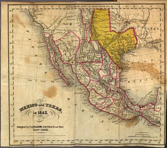 Mexico 1842 Ancient Map World Map Poster Wall World Map Ancient