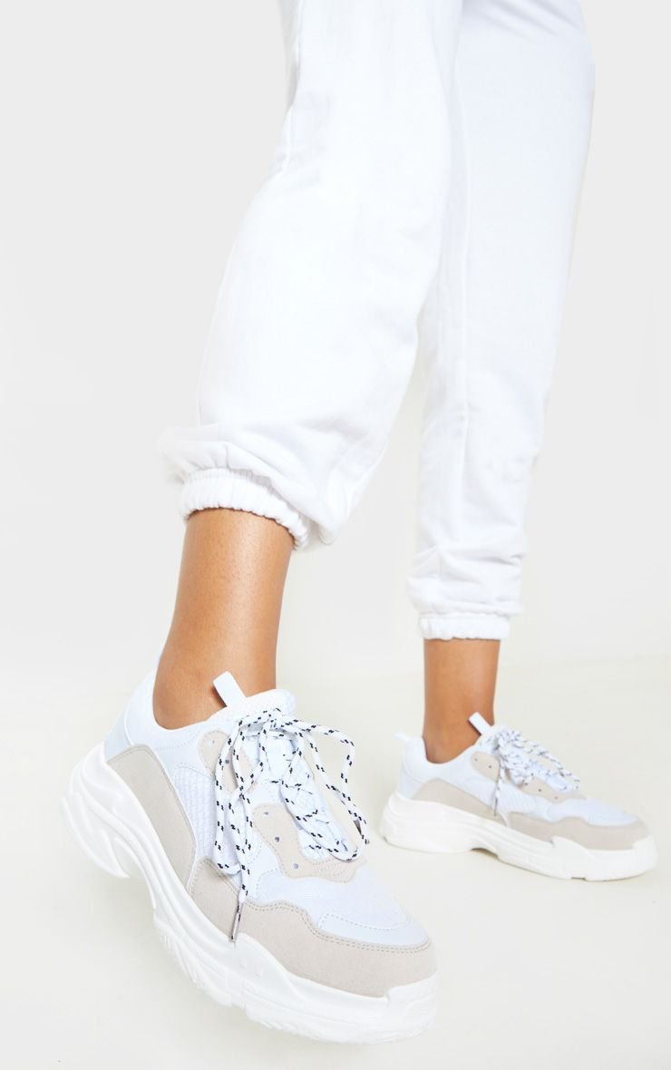 White Lace Up Chunky Trainer   Lace up
