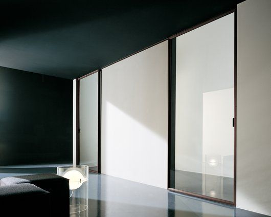 Modern Interior Sliding Door Featuring Frosted Glass Panel With Brown  Anodized Aluminum Frame