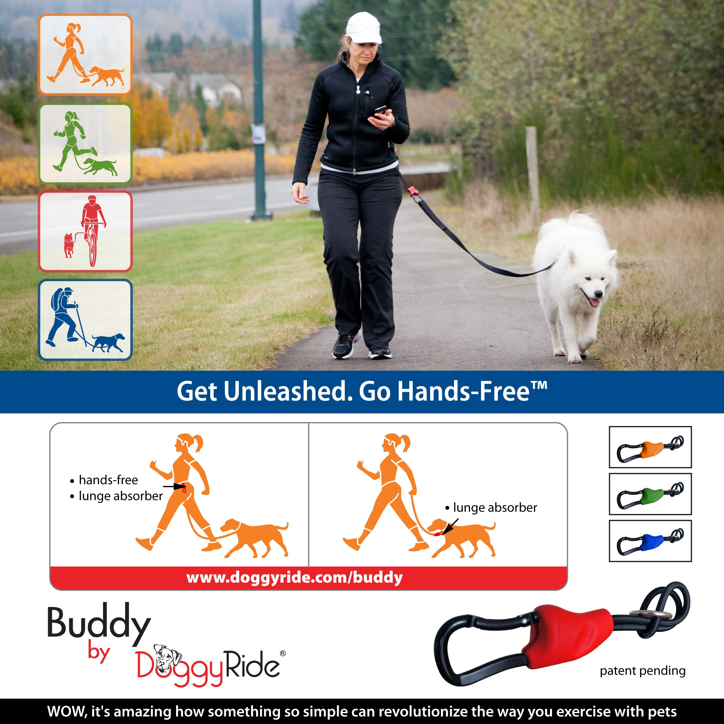 Get your buddy multiactivity dog leash connector hands