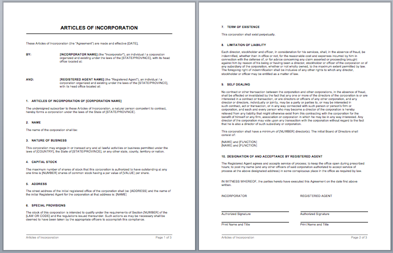 Articles Of Incorporation Template Templates Business Analysis Articles