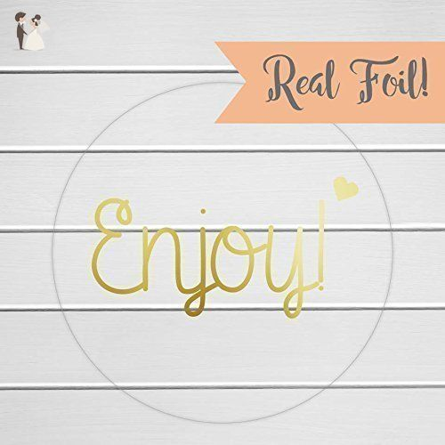 Enjoy labels gold foil on clear transparent enjoy stickers thank you stickers printed