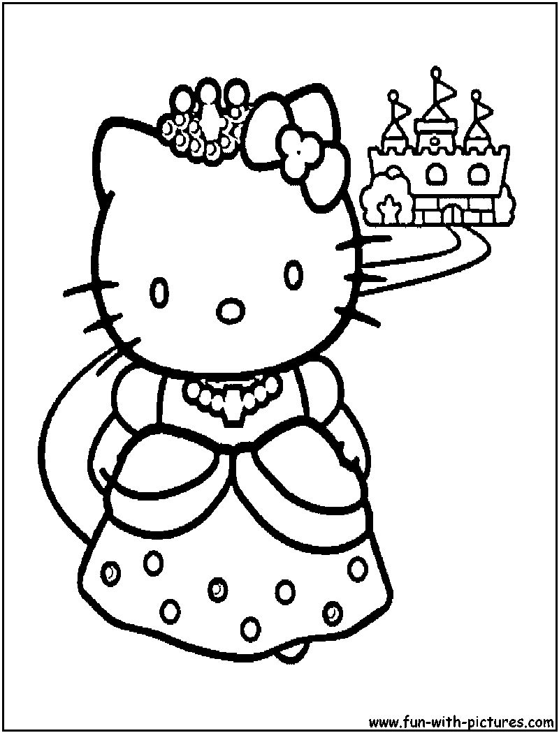 Coloring pages hello kitty princess