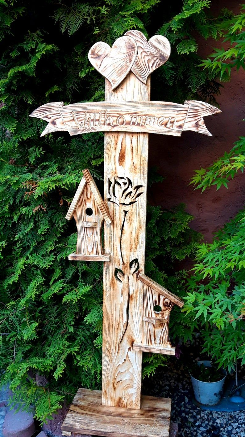 Wooden Stand Welcome Sign Board Entrance Garden Balcony Terrace Nature Handmade Gift Dekoration Holz Bretter