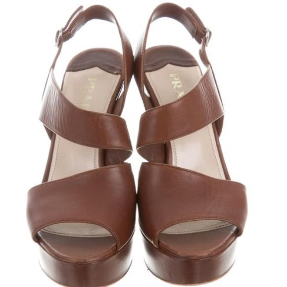 "881d015ef281 PRADA Prada Leather Wedge Sandals Buckle closure at ankle straps Heels  4.75"" Platform 1.25"""