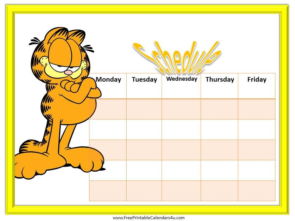 Weekly Calendar With Garfield Free Many More Free Calendars And