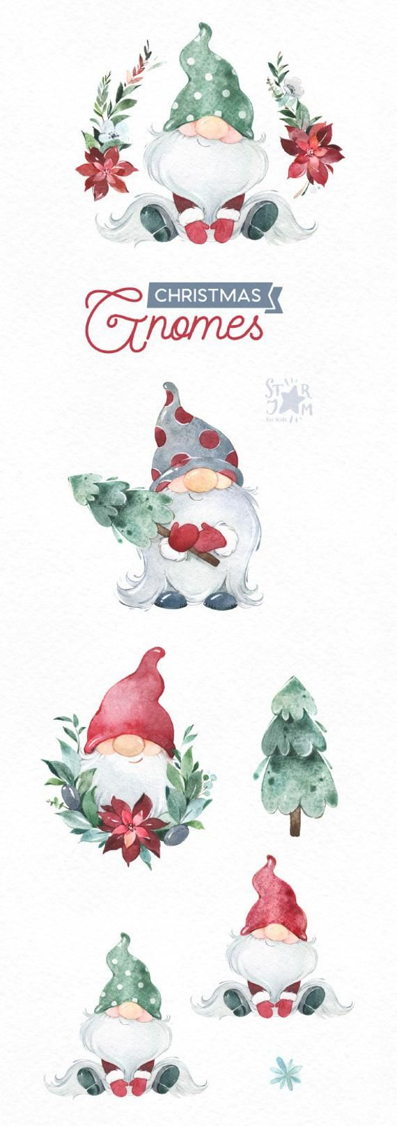 Christmas Gnomes Watercolor clipart, Nordic, Scandinavian, magical, winter, tree, snow, fairytale, holiday, xmas, baby, cards, dwarf, wreath