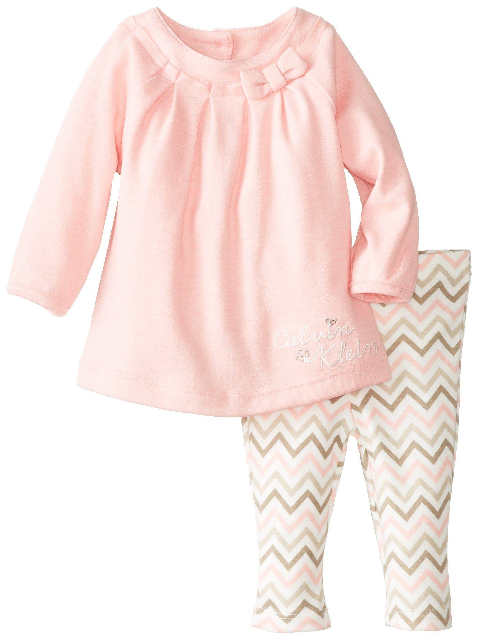 Calvin Klein Baby Girls Newborn Tunic with Printed Leggings Pink 6