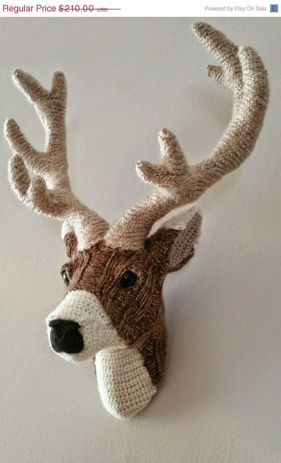 Faux Taxidermy Stag animal CLARK Huge Crochet Deer Trophy Head Super Hero Childrens Room Wall Hanging