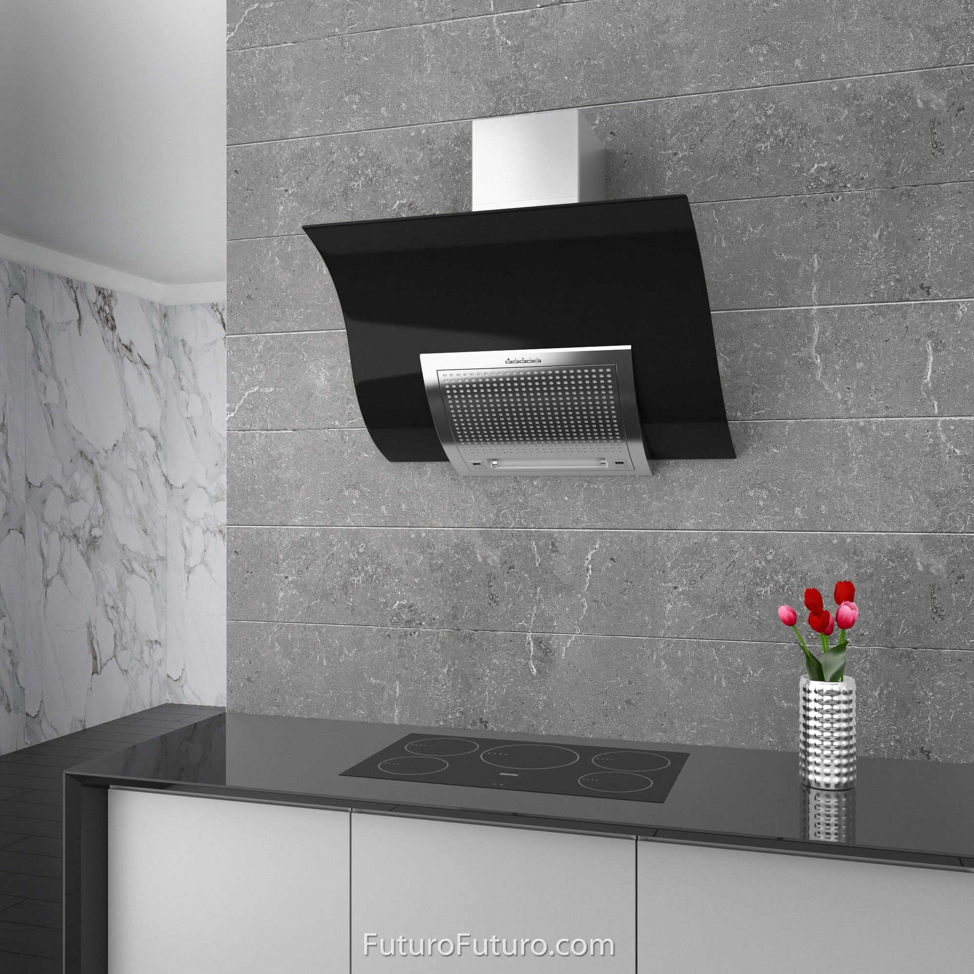 Range Hood 36 Inch Wave Black Wall Mount By Futuro Futuro In 2020 Black Walls Glass Panels Wall