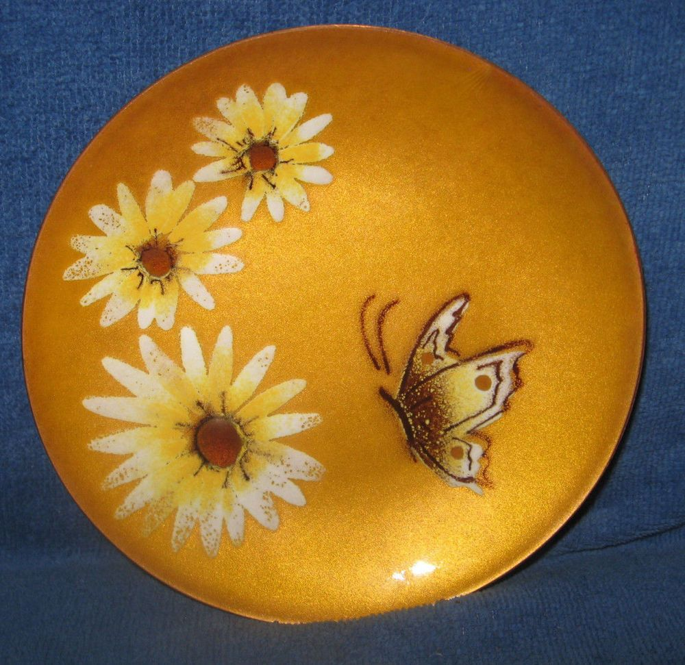 Bovano of Cheshire Enamel Sunflowers and Butterfly Dish 6\