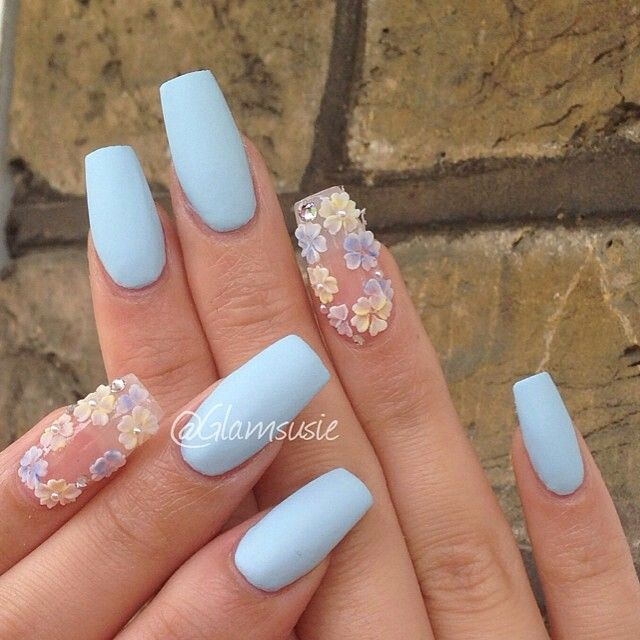 Matte Sky Blue With 3d Floral Coffin Nails Baby Blue Nails Blue Nails Nail Designs