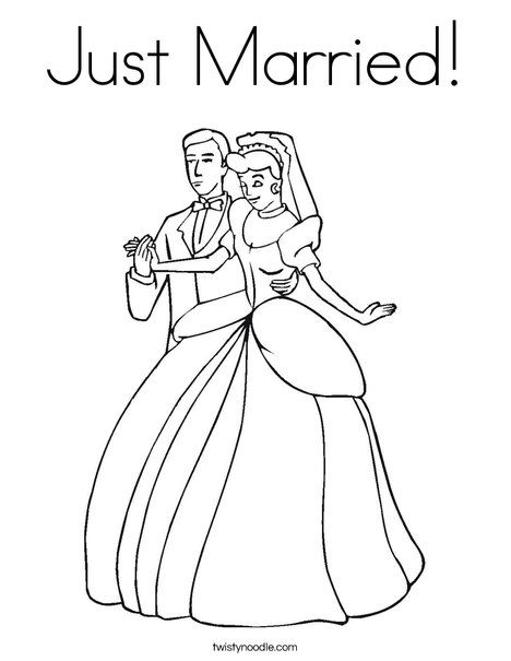 Just Married Coloring Page Happy Anniversary Happy Anniversary