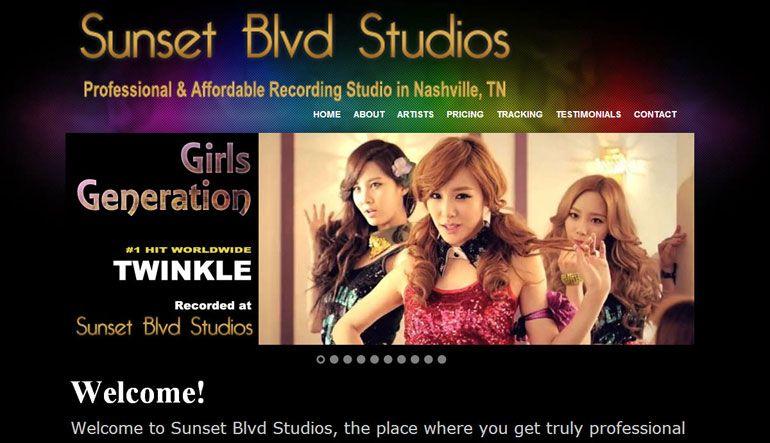 Sunset Blvd Studios Is A Professional Music Recording Studio In Nashville Tn Music City Website Design Services Music Recording Studio Custom Website Design