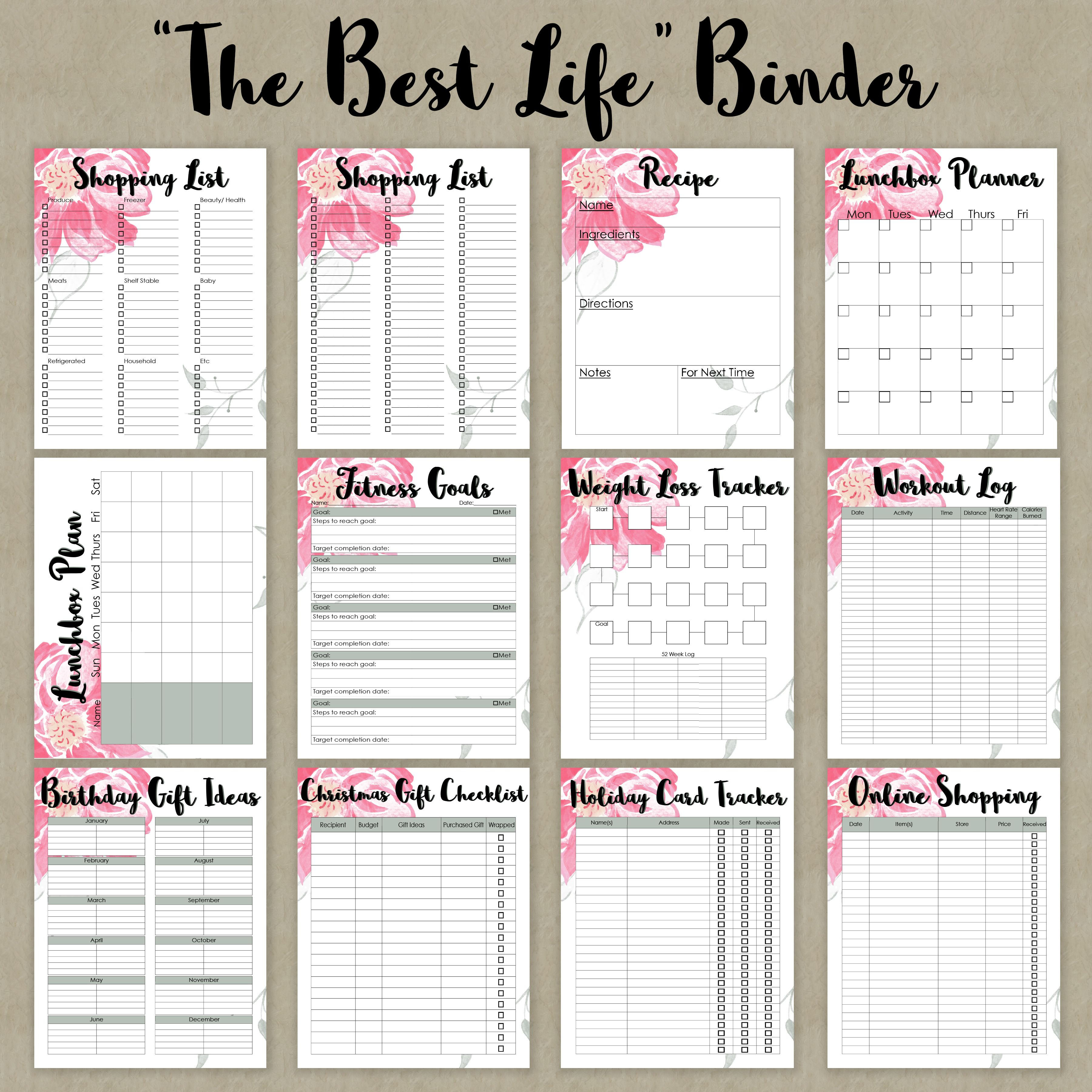 """""""The Best Life"""" Binder Printables- Everything You Need For"""