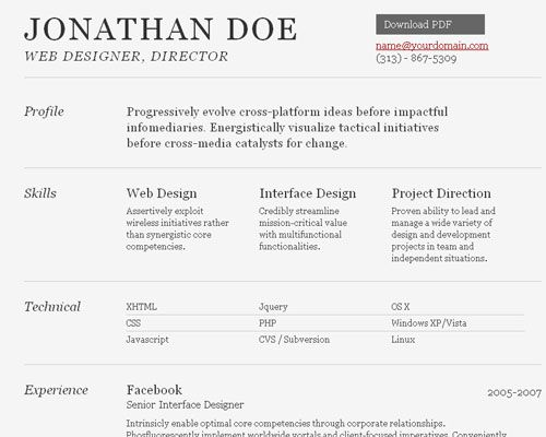 a free html resume template