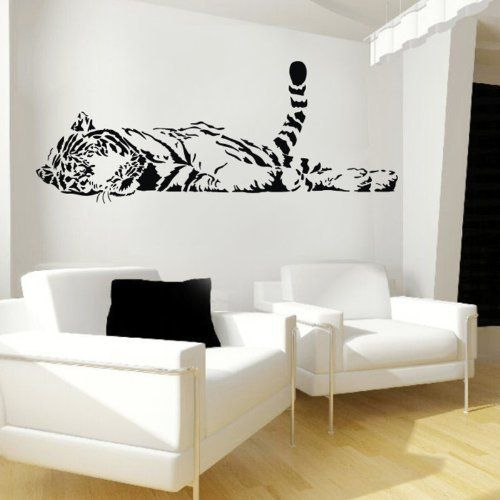 Large wild animal lazily tiger tail up lying lefr face wall decal stickers decoration decorative mural