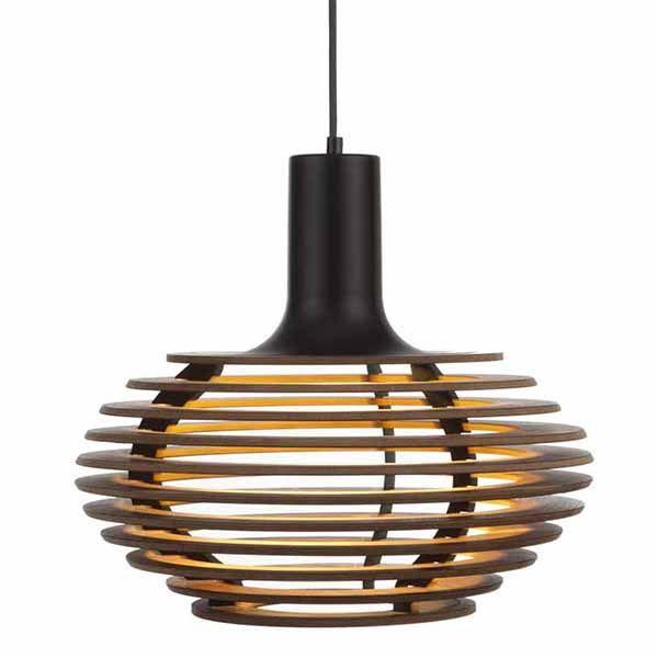 klik shop design hanglamp van hout met zwarte fitting de