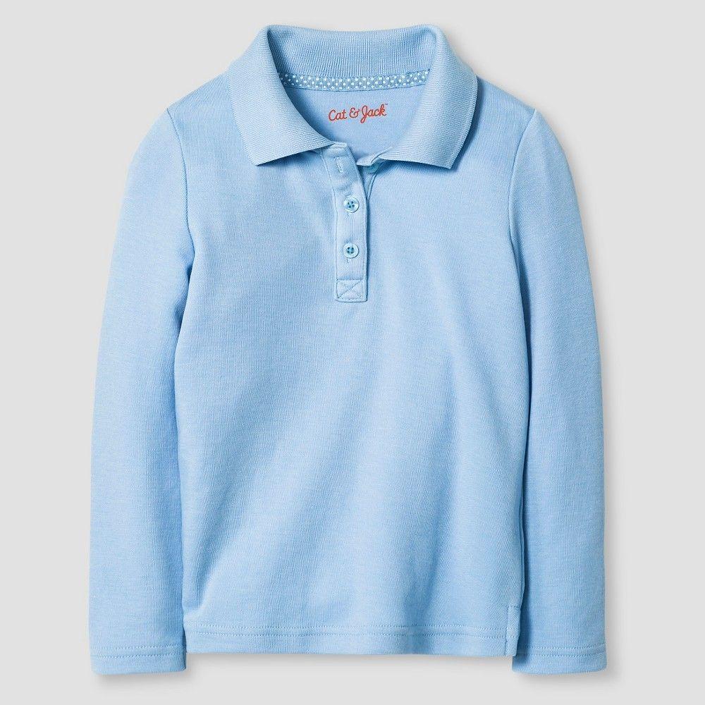 5ebcb8b44 Toddler Girls  Long Sleeve Interlock Uniform Polo Shirt - Cat   Jack ...