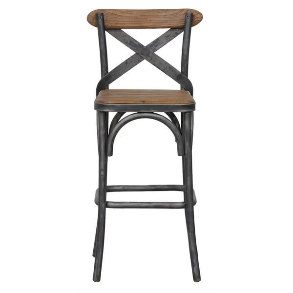 Dixon Reclaimed Wood And Iron 24 Inch Barstool By Kosas Home