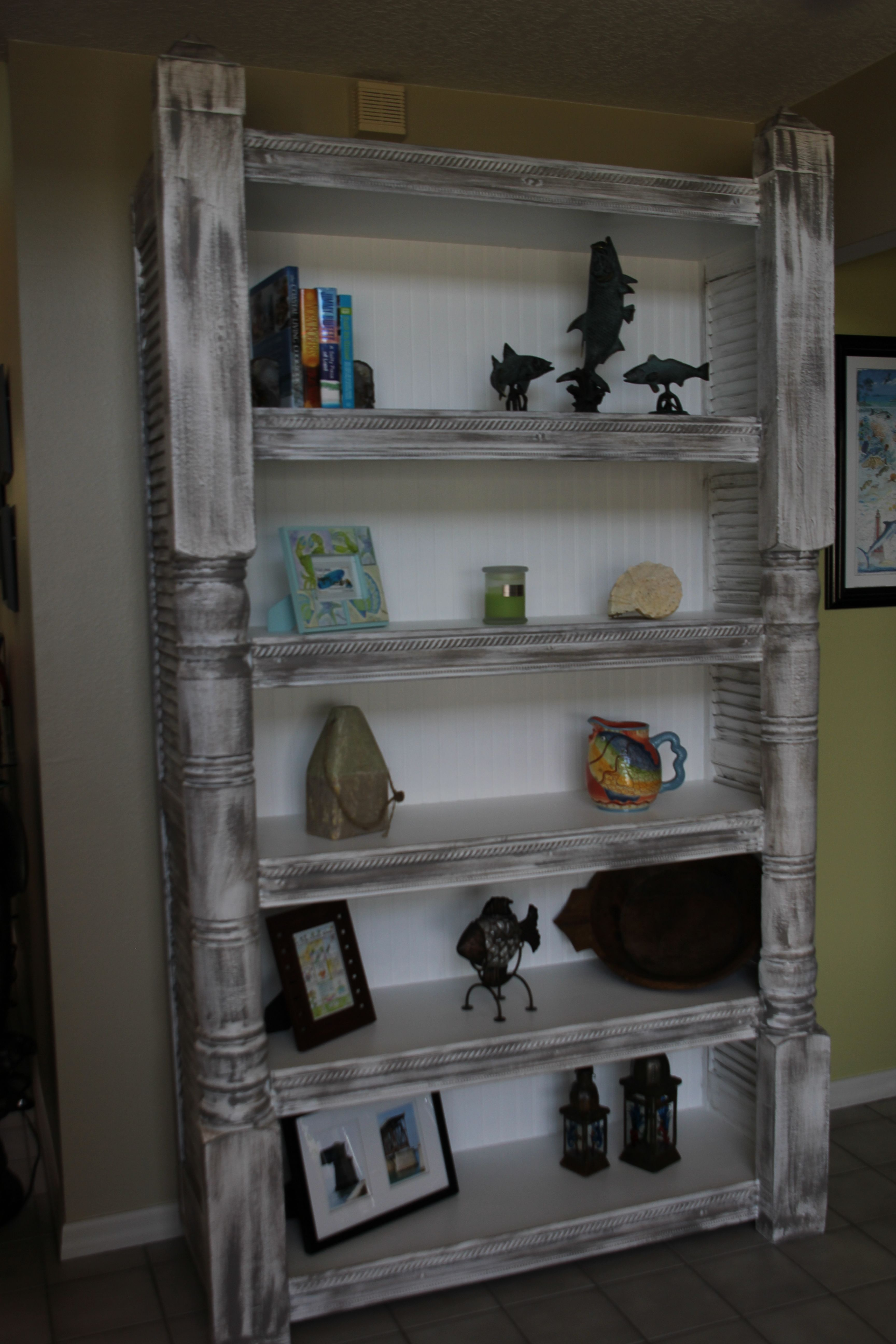 I Took Old Porch Post Old Shutters And Made This Book Shelf